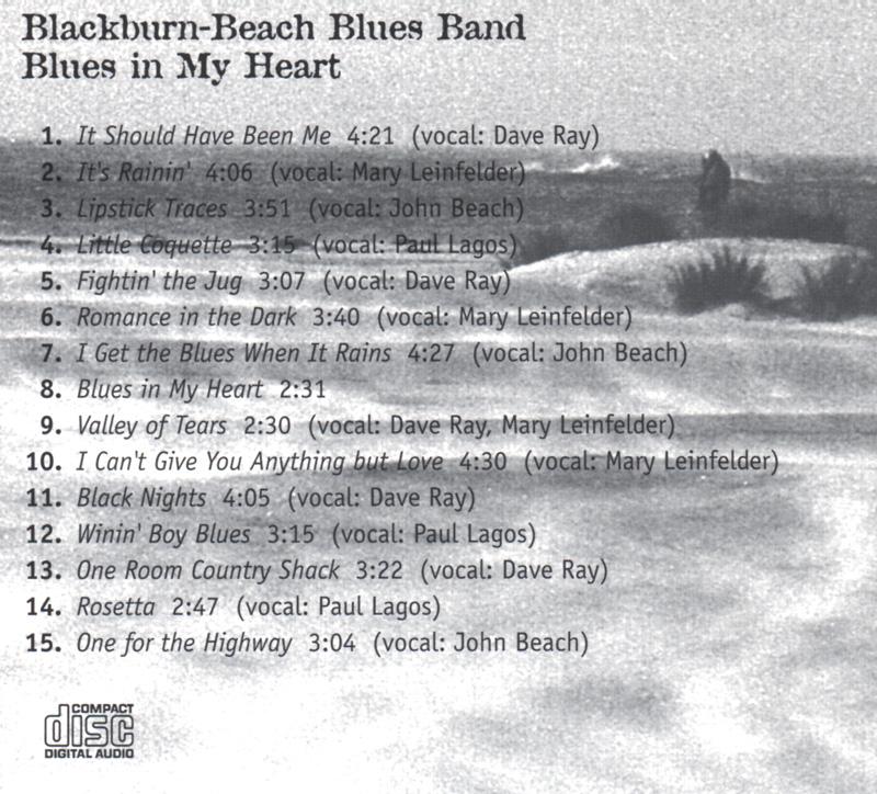 Blackburn Beach Blues Band back cover