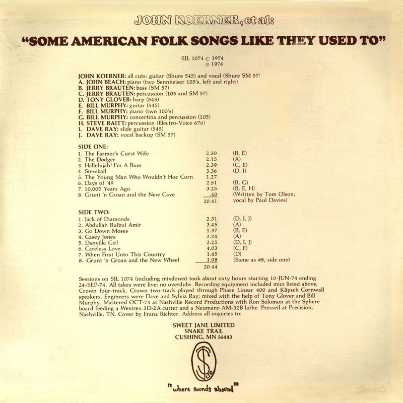 Some American Folk Songs back cover