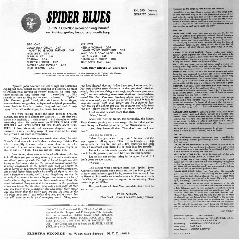 Spider Blues Back Cover